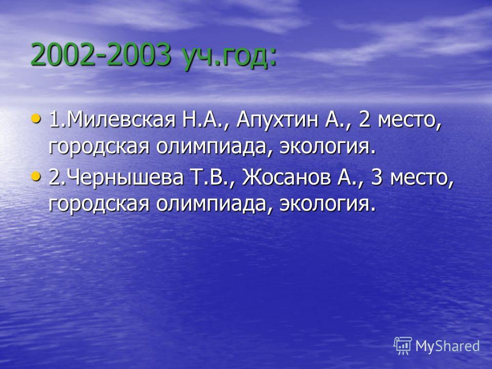 2002-2003 уч.год: 1.Милевская Н.А., Апухтин А., 2 место, городская олимпиада, экология. 2.Чернышева Т.В., Жосанов А., 3 место, городская олимпиада, экология.