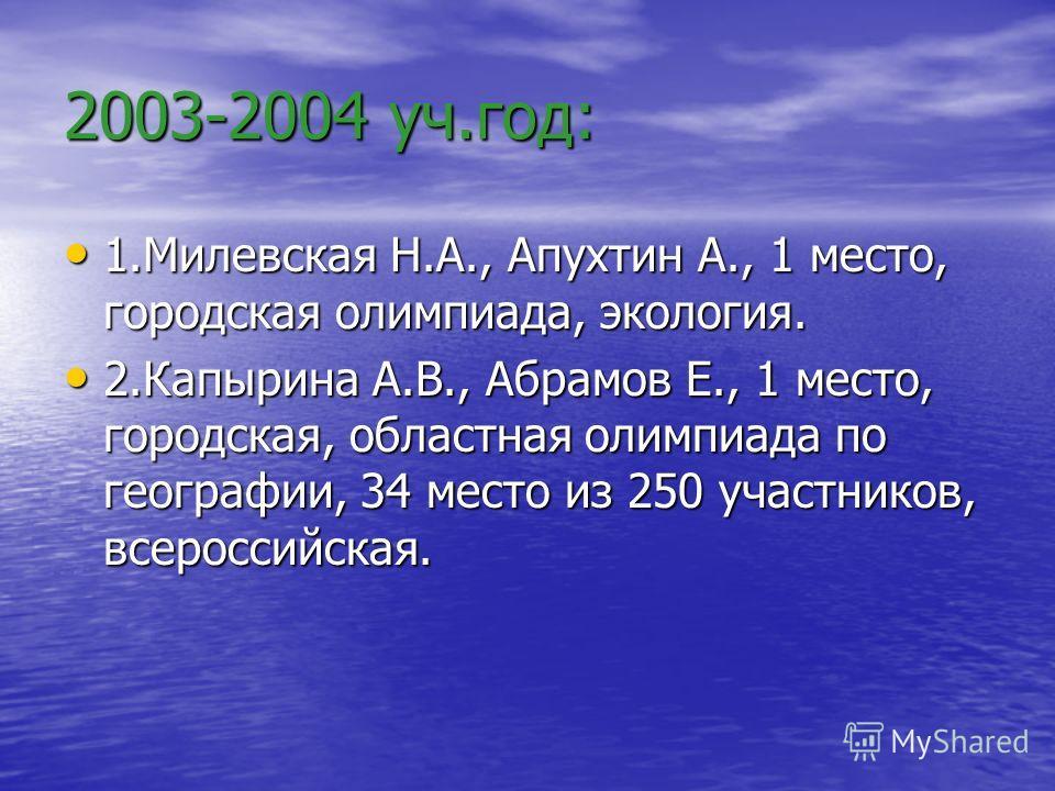 2003-2004 уч.год: 1.Милевская Н.А., Апухтин А., 1 место, городская олимпиада, экология. 2.Капырина А.В., Абрамов Е., 1 место, городская, областная олимпиада по географии, 34 место из 250 участников, всероссийская.