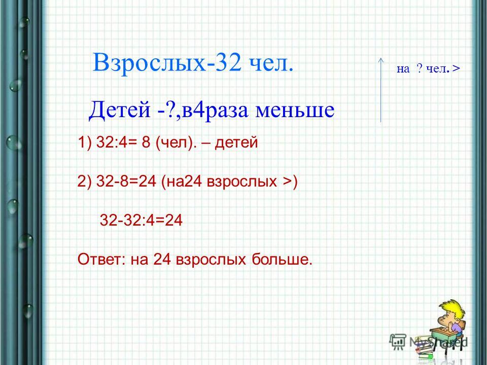 28.04.201413 Взрослых-32 чел. Детей -?,в4раза меньше на ? чел. > 1) 32:4= 8 (чел). – детей 2) 32-8=24 (на24 взрослых >) 32-32:4=24 Ответ: на 24 взрослых больше.