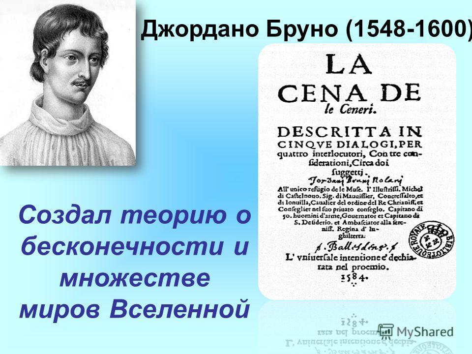 Джордано Бруно (1548-1600) Создал теорию о бесконечности и множестве миров Вселенной
