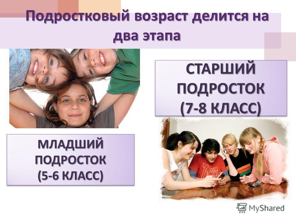 Подростковый возраст делится на два этапа МЛАДШИЙ ПОДРОСТОК (5-6 КЛАСС ) МЛАДШИЙ ПОДРОСТОК (5-6 КЛАСС ) СТАРШИЙ ПОДРОСТОК (7-8 КЛАСС ) СТАРШИЙ ПОДРОСТОК (7-8 КЛАСС )