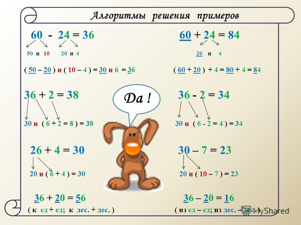60 - 24 = 36 60 + 24 = 84 50 и 10 20 и 4 20 и 4 ( 50 – 20 ) и ( 10 – 4 ) = 30 и 6 = 36 ( 60 + 20 ) + 4 = 80 + 4 = 84 36 + 2 = 38 36 - 2 = 34 30 и ( 6 + 2 = 8 ) = 38 30 и ( 6 - 2 = 4 ) = 34 26 + 4 = 30 30 – 7 = 23 20 и ( 6 + 4 ) = 30 20 и ( 10 – 7 ) =