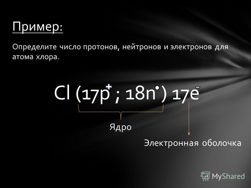 Определите число протонов, нейтронов и электронов для атома хлора. Cl (17p ; 18n ) 17e Ядро Электронная оболочка Пример: