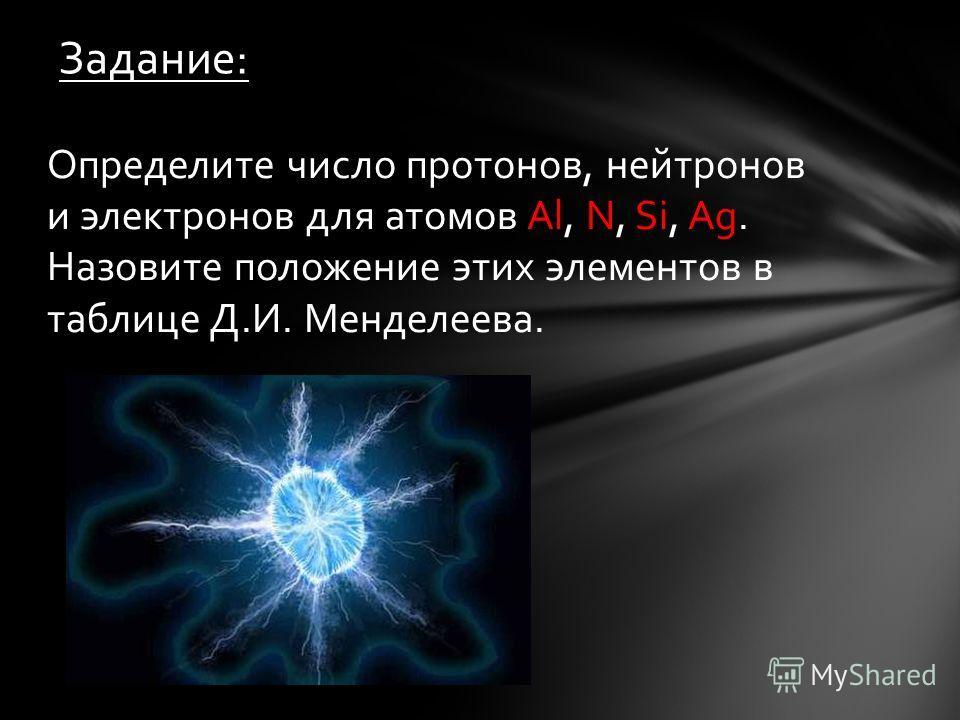 Определите число протонов, нейтронов и электронов для атомов Al, N, Si, Ag. Назовите положение этих элементов в таблице Д.И. Менделеева. Задание:
