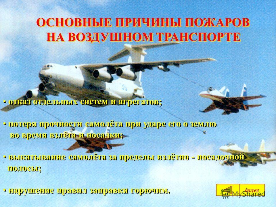 ОСНОВНЫЕ ПРИЧИНЫ ПОЖАРОВ НА ВОЗДУШНОМ ТРАНСПОРТЕ ОСНОВНЫЕ ПРИЧИНЫ ПОЖАРОВ НА ВОЗДУШНОМ ТРАНСПОРТЕ отказ отдельных систем и агрегатов; потеря прочности самолёта при ударе его о землю во время взлёта и посадки; выкатывание самолёта за пределы взлётно -