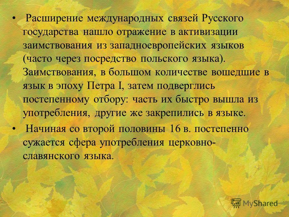 Расширение международных связей Русского государства нашло отражение в активизации заимствования из западноевропейских языков (часто через посредство польского языка). Заимствования, в большом количестве вошедшие в язык в эпоху Петра I, затем подверг
