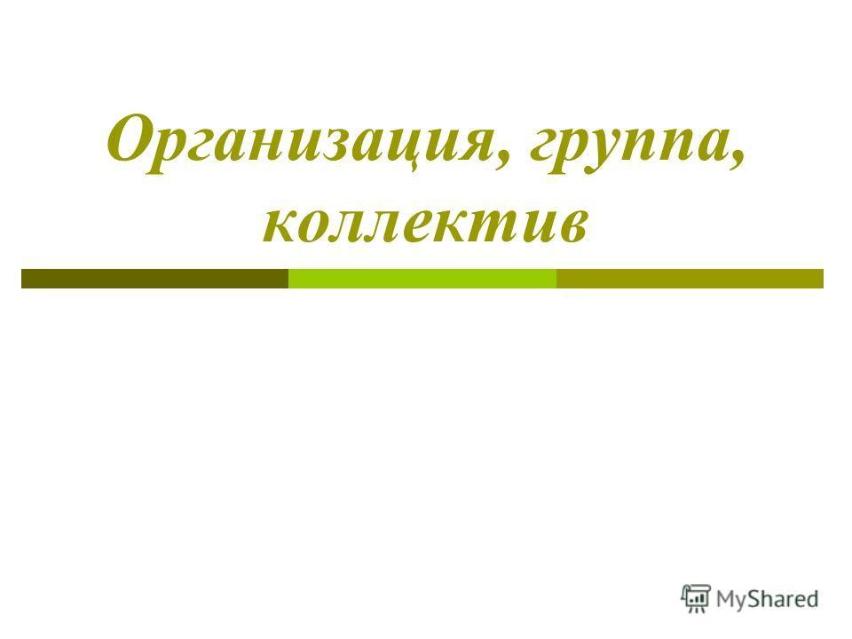 Организация, группа, коллектив