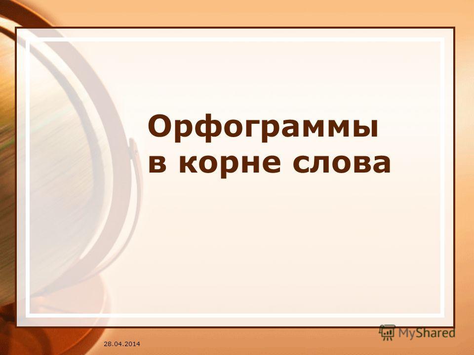 28.04.2014 Орфограммы в корне слова