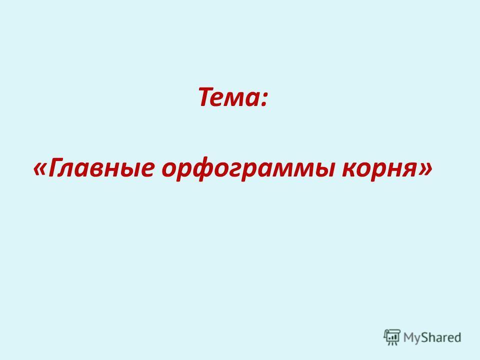 Тема: «Главные орфограммы корня»