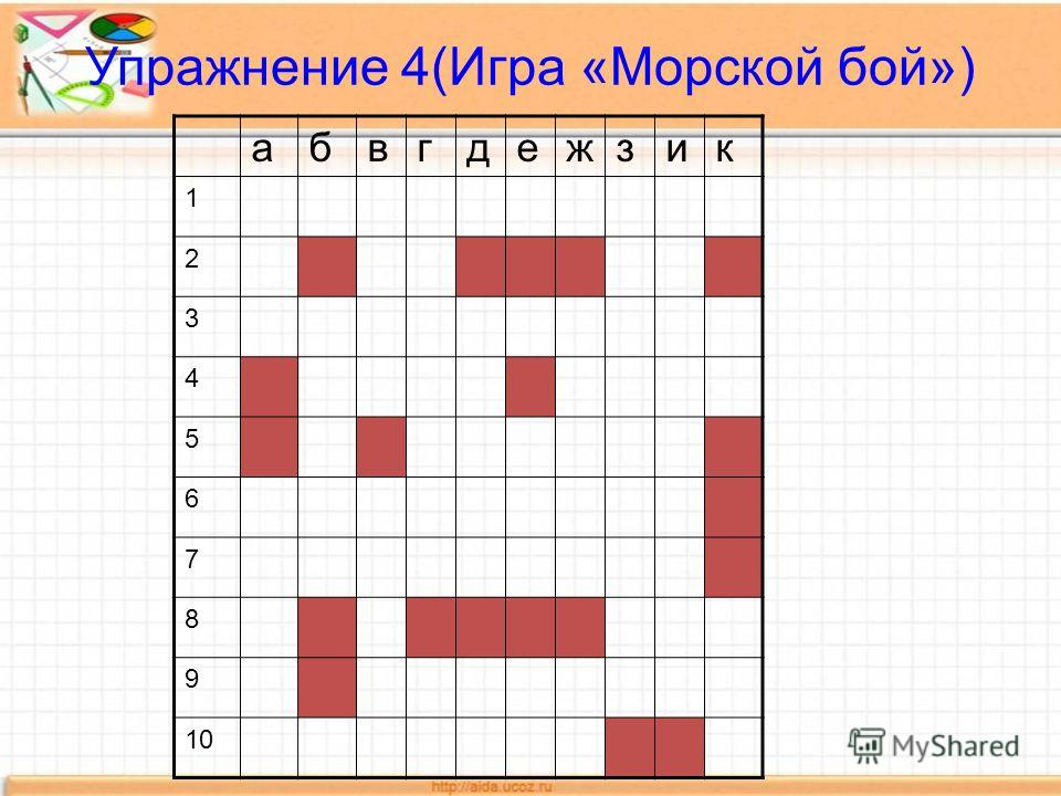 Упражнение 4(Игра «Морской бой») абвгдежзик 1 2 3 4 5 6 7 8 9 10