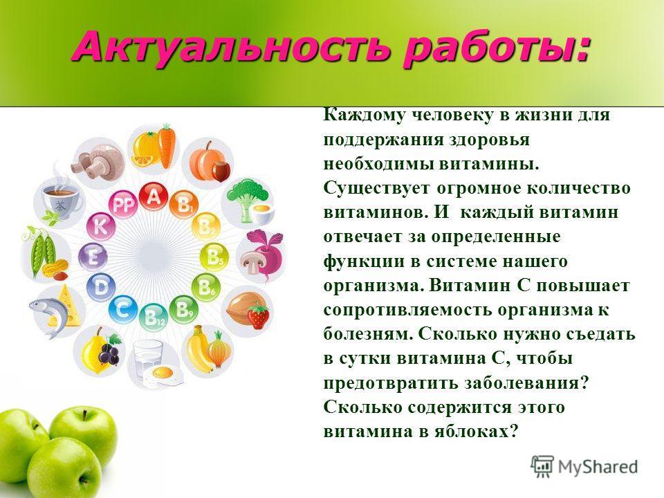 Актуальность работы: Каждому человеку в жизни для поддержания здоровья необходимы витамины. Существует огромное количество витаминов. И каждый витамин отвечает за определенные функции в системе нашего организма. Витамин C повышает сопротивляемость ор