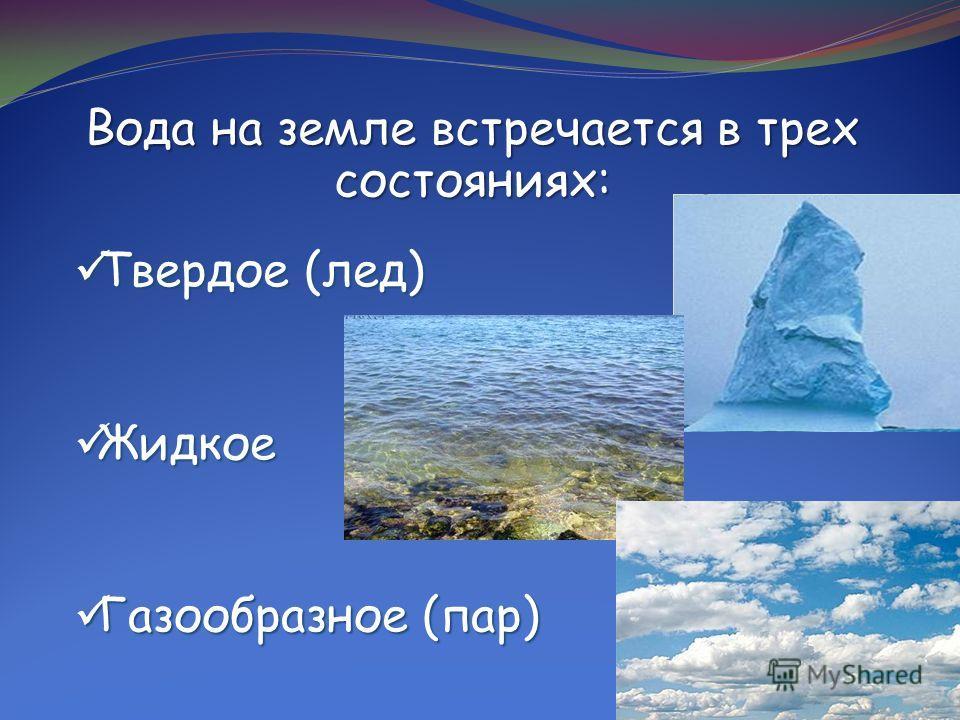 Вода на земле встречается в трех состояниях: Твердое (лед) Твердое (лед) Жидкое Жидкое Газообразное (пар) Газообразное (пар)