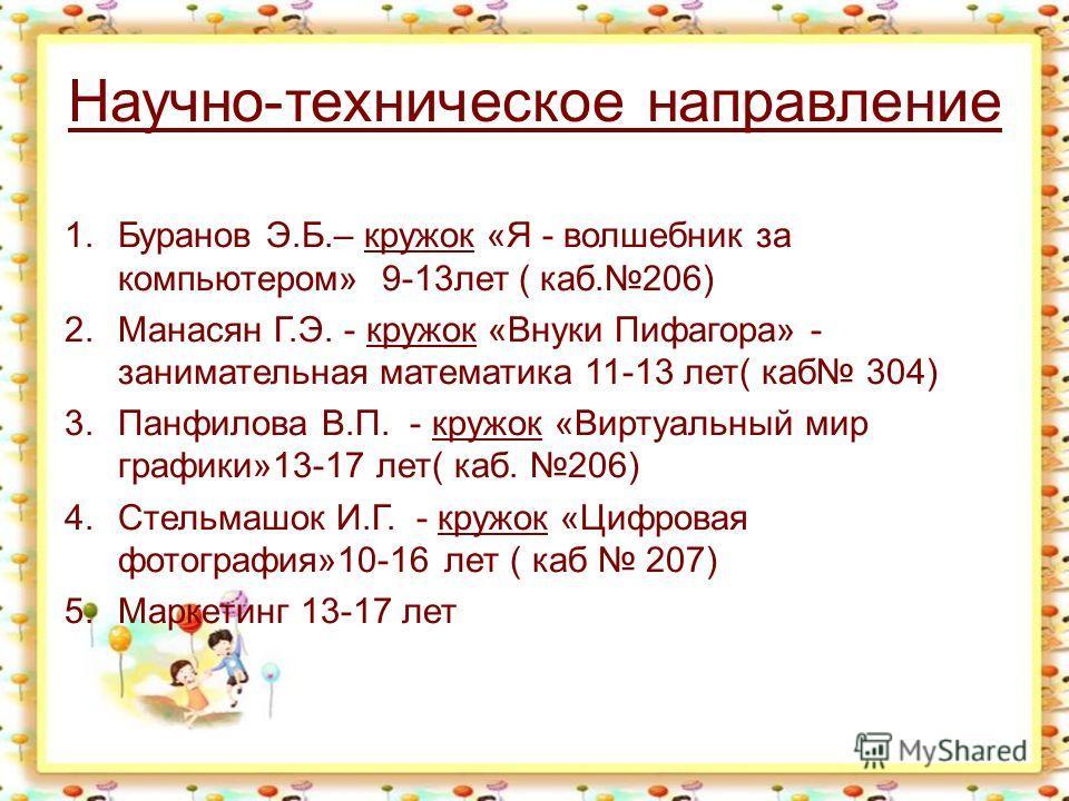Научно-техническое направление 1.Буранов Э.Б.– кружок «Я - волшебник за компьютером» 9-13лет ( каб.206) 2.Манасян Г.Э. - кружок «Внуки Пифагора» - занимательная математика 11-13 лет( каб 304) 3.Панфилова В.П. - кружок «Виртуальный мир графики»13-17 л