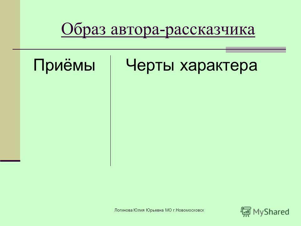 ПриёмыЧерты характера Образ автора-рассказчика Логинова Юлия Юрьевна МО г.Новомосковск