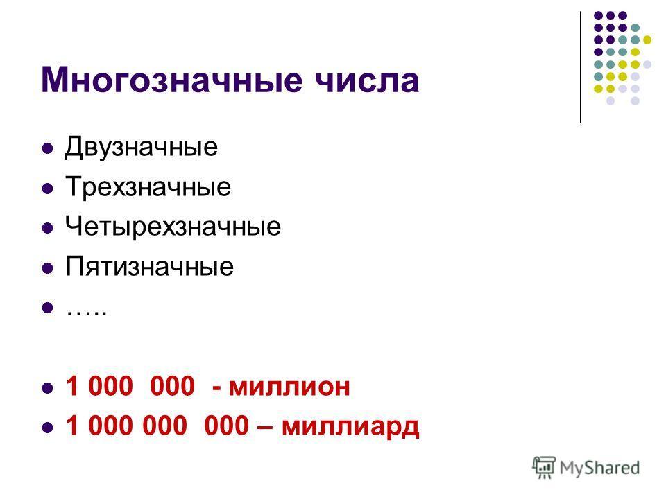 Многозначные числа Двузначные Трехзначные Четырехзначные Пятизначные ….. 1 000 000 - миллион 1 000 000 000 – миллиард