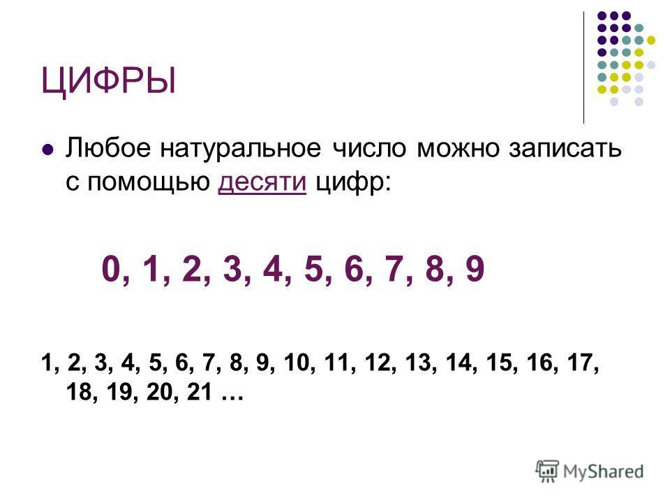 ЦИФРЫ Любое натуральное число можно записать с помощью десяти цифр: 0, 1, 2, 3, 4, 5, 6, 7, 8, 9 1, 2, 3, 4, 5, 6, 7, 8, 9, 10, 11, 12, 13, 14, 15, 16, 17, 18, 19, 20, 21 …