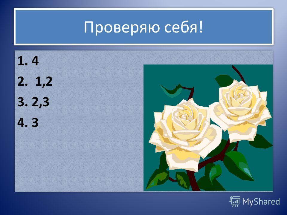 Проверяю себя! 1. 4 2. 1,2 3. 2,3 4. 3 1. 4 2. 1,2 3. 2,3 4. 3