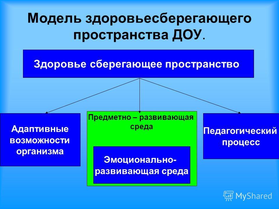 Модель здоровьесберегающего пространства ДОУ. Здоровье сберегающее пространство Адаптивные возможности организма Предметно – развивающая среда Педагогический процесс Эмоционально- развивающая среда