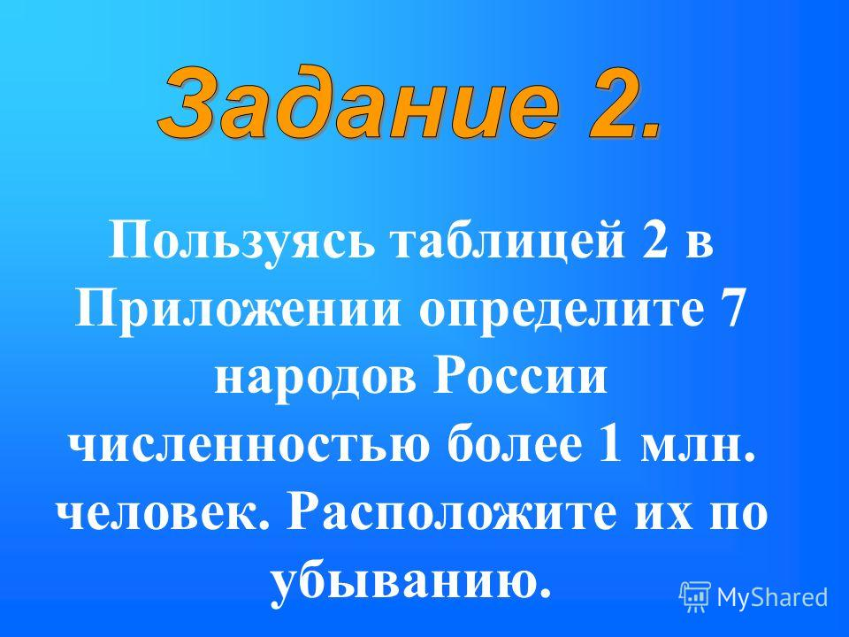 Пользуясь таблицей 2 в Приложении определите 7 народов России численностью более 1 млн. человек. Расположите их по убыванию.