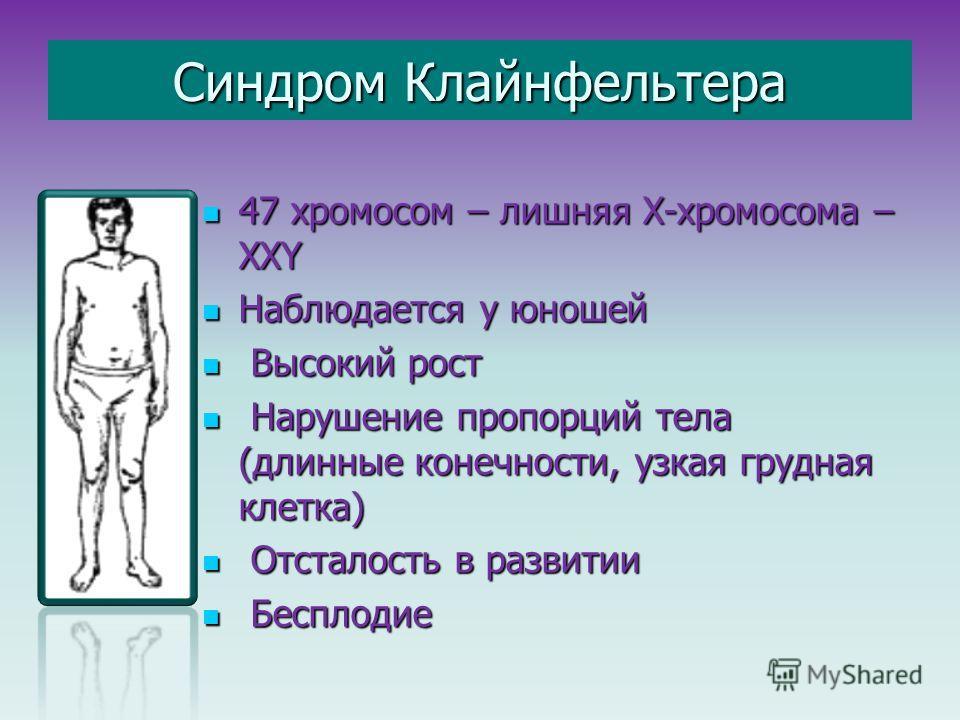 Синдром Клайнфельтера 47 хромосом – лишняя Х-хромосома – ХХY 47 хромосом – лишняя Х-хромосома – ХХY Наблюдается у юношей Наблюдается у юношей Высокий рост Высокий рост Нарушение пропорций тела (длинные конечности, узкая грудная клетка) Нарушение проп