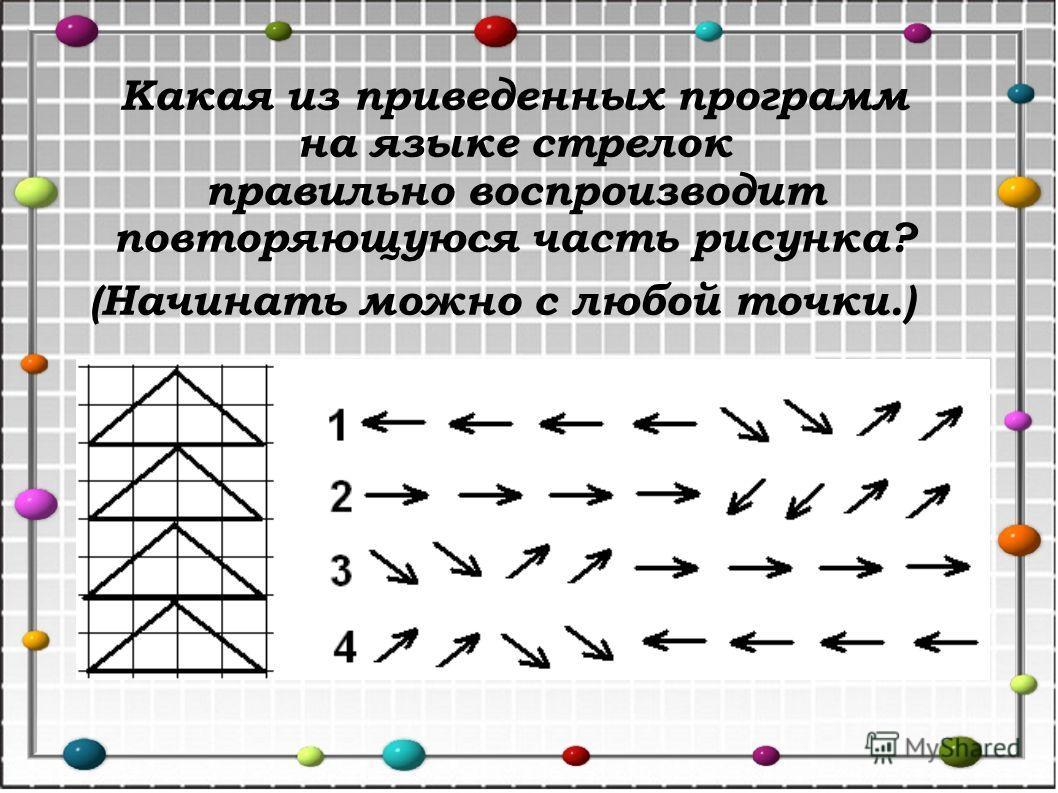 Какая из приведенных программ на языке стрелок правильно воспроизводит повторяющуюся часть рисунка? (Начинать можно с любой точки.)