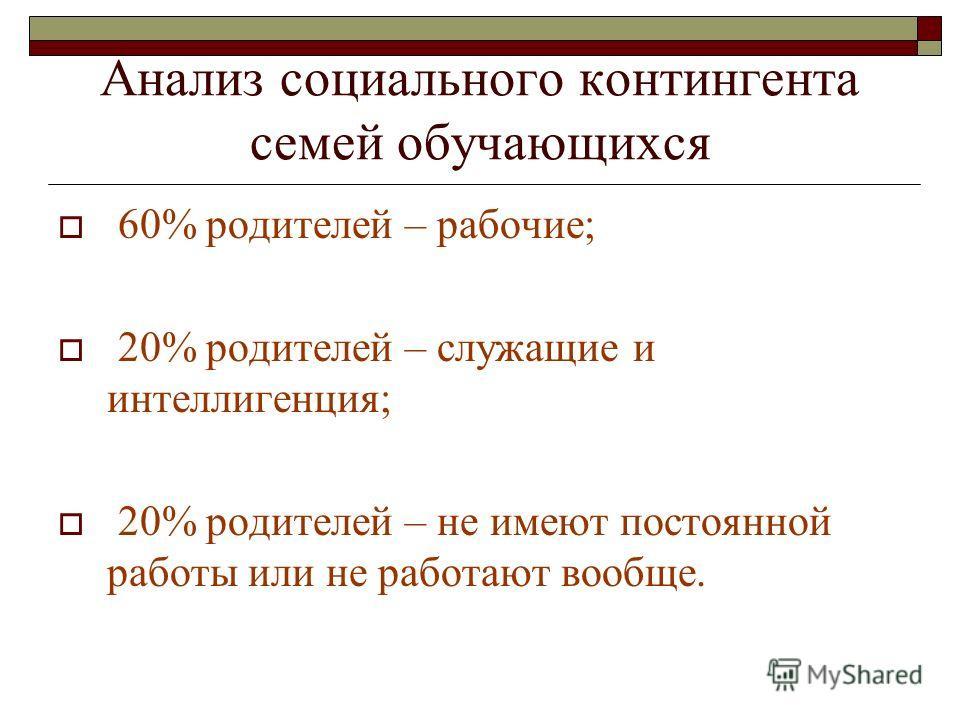 Анализ социального контингента семей обучающихся 60% родителей – рабочие; 20% родителей – служащие и интеллигенция; 20% родителей – не имеют постоянной работы или не работают вообще.