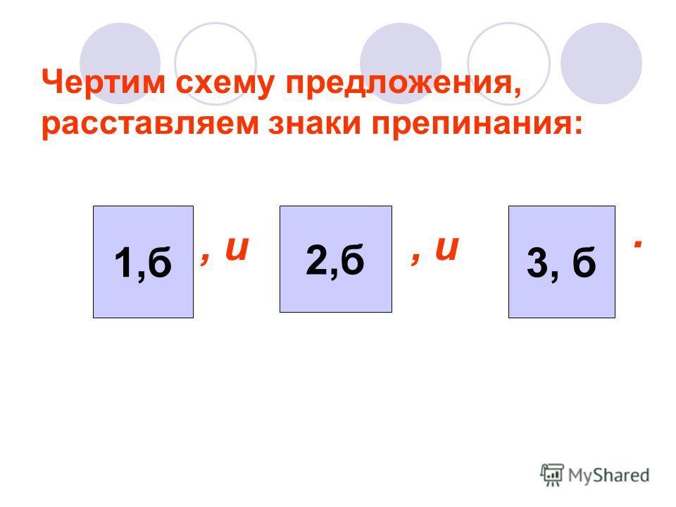Чертим схему предложения, расставляем знаки препинания: 3, б 1,б 2,б, и.