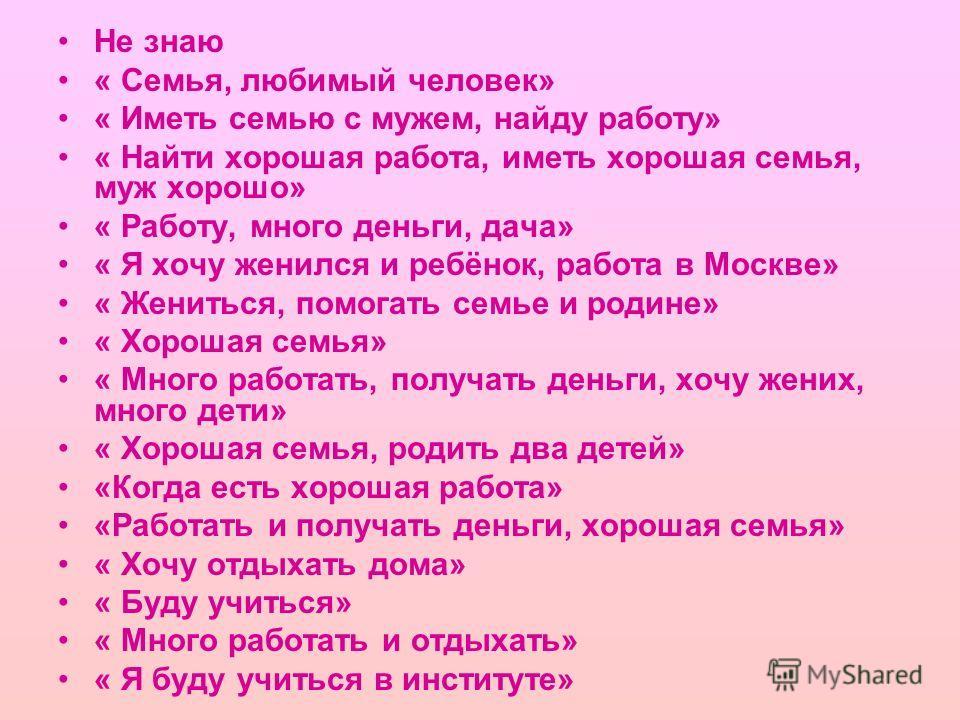 Не знаю « Семья, любимый человек» « Иметь семью с мужем, найду работу» « Найти хорошая работа, иметь хорошая семья, муж хорошо» « Работу, много деньги, дача» « Я хочу женился и ребёнок, работа в Москве» « Жениться, помогать семье и родине» « Хорошая