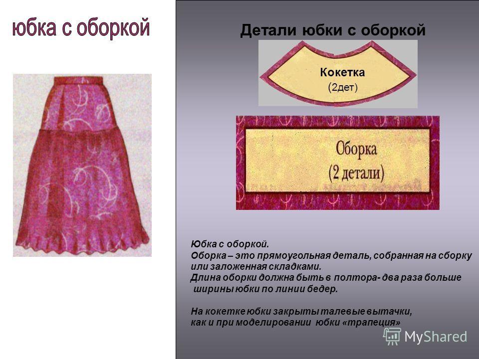 Детали юбки с оборкой Кокетка ( 2дет) Юбка с оборкой. Оборка – это прямоугольная деталь, собранная на сборку или заложенная складками. Длина оборки должна быть в полтора- два раза больше ширины юбки по линии бедер. На кокетке юбки закрыты талевые выт