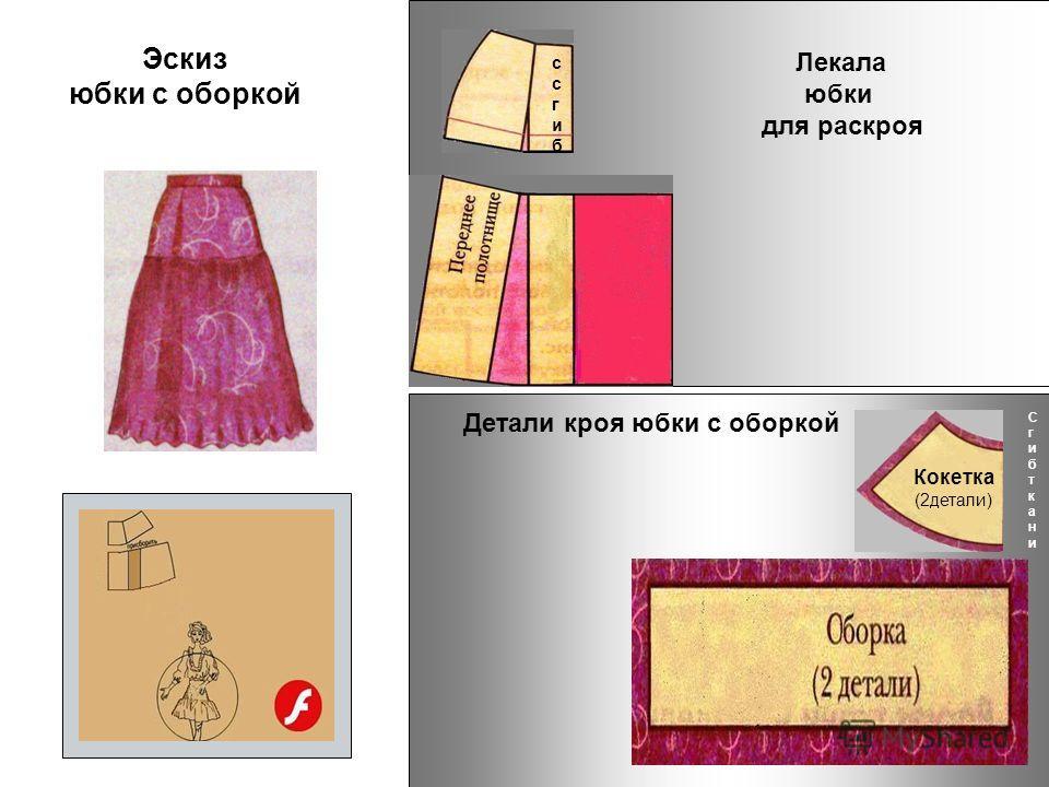 Эскиз юбки с оборкой Детали кроя юбки с оборкой Лекала юбки для раскроя кокетка СгибтканиСгибткани Кокетка (2детали) ссгибссгиб