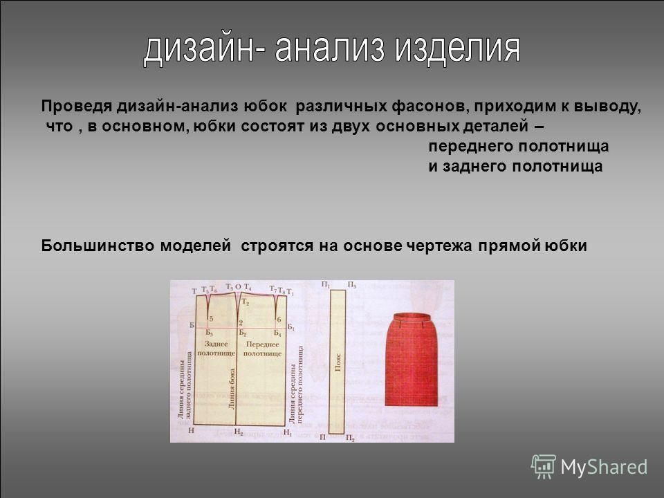 Проведя дизайн-анализ юбок различных фасонов, приходим к выводу, что, в основном, юбки состоят из двух основных деталей – переднего полотнища и заднего полотнища Большинство моделей строятся на основе чертежа прямой юбки