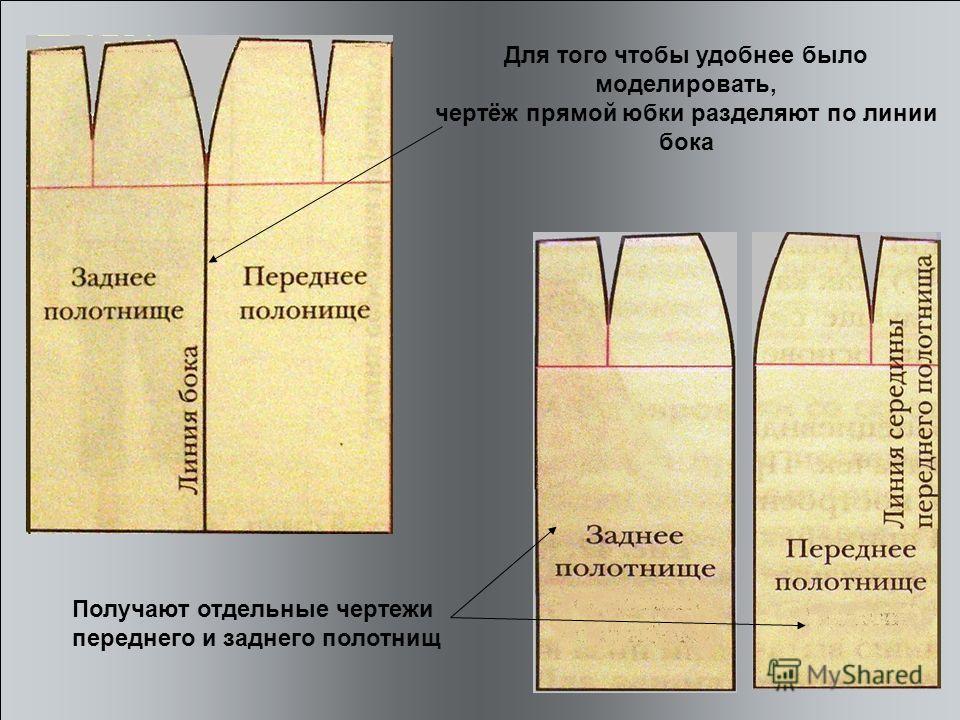 Для того чтобы удобнее было моделировать, чертёж прямой юбки разделяют по линии бока Получают отдельные чертежи переднего и заднего полотнищ