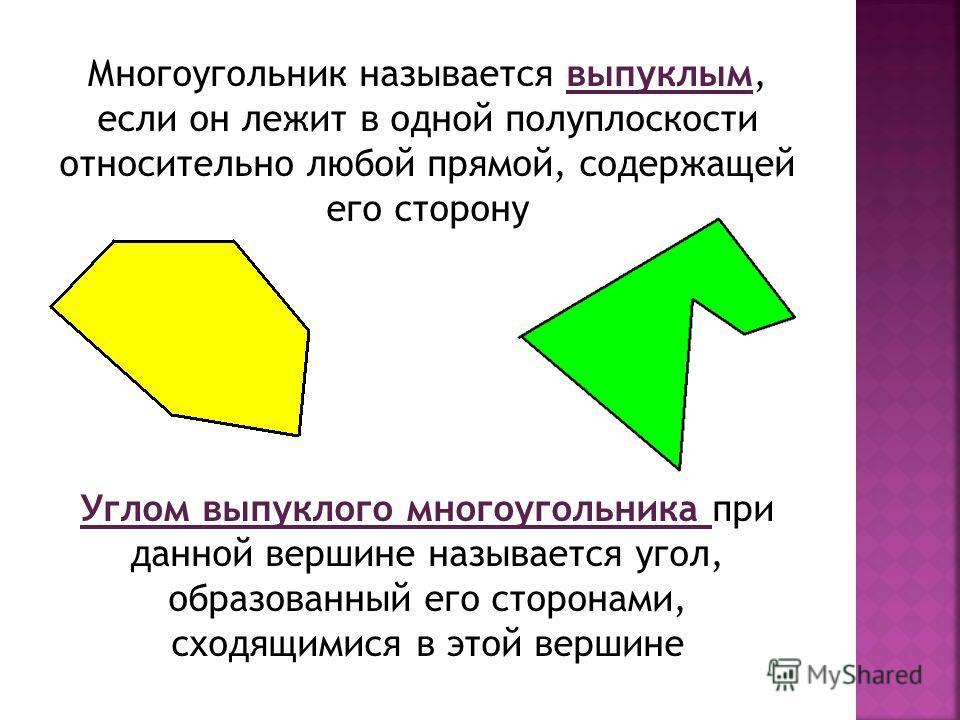 Многоугольник называется выпуклым, если он лежит в одной полуплоскости относительно любой прямой, содержащей его сторону Углом выпуклого многоугольника при данной вершине называется угол, образованный его сторонами, сходящимися в этой вершине