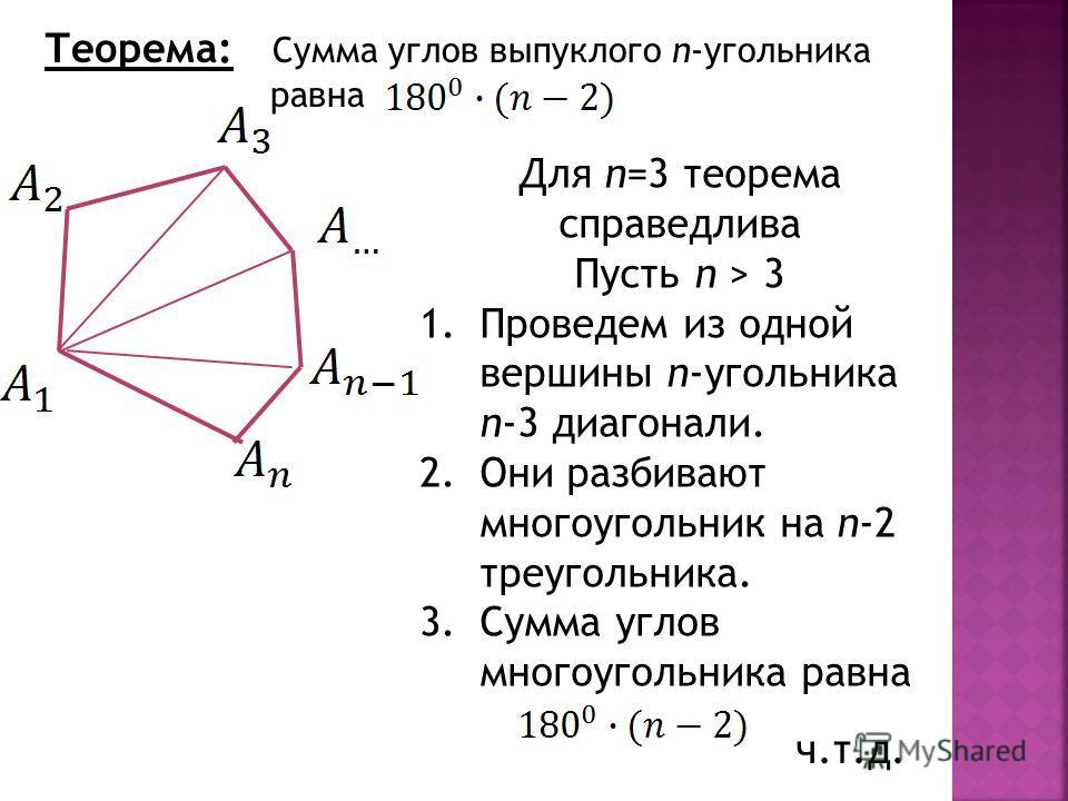 Теорема: Сумма углов выпуклого n-угольника равна Для n=3 теорема справедлива Пусть n > 3 1.Проведем из одной вершины n-угольника n-3 диагонали. 2.Они разбивают многоугольник на n-2 треугольника. 3.Сумма углов многоугольника равна ч.т.д.