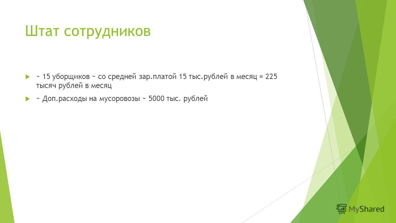 Штат сотрудников ~ 15 уборщиков ~ со средней зар.платой 15 тыс.рублей в месяц = 225 тысяч рублей в месяц ~ Доп.расходы на мусоровозы ~ 5000 тыс. рублей