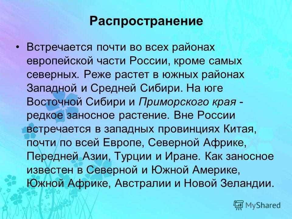 Распространение Встречается почти во всех районах европейской части России, кроме самых северных. Реже растет в южных районах Западной и Средней Сибири. На юге Восточной Сибири и Приморского края - редкое заносное растение. Вне России встречается в з