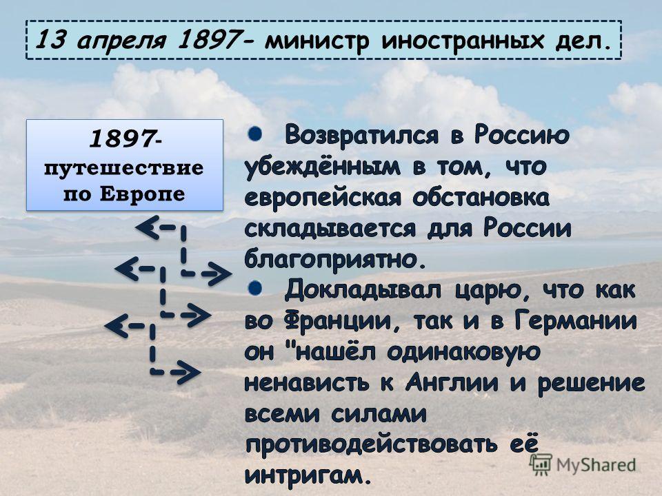 13 апреля 1897- министр иностранных дел. 1897 - путешествие по Европе
