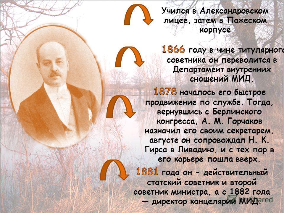 Учился в Александровском лицее, затем в Пажеском корпусе