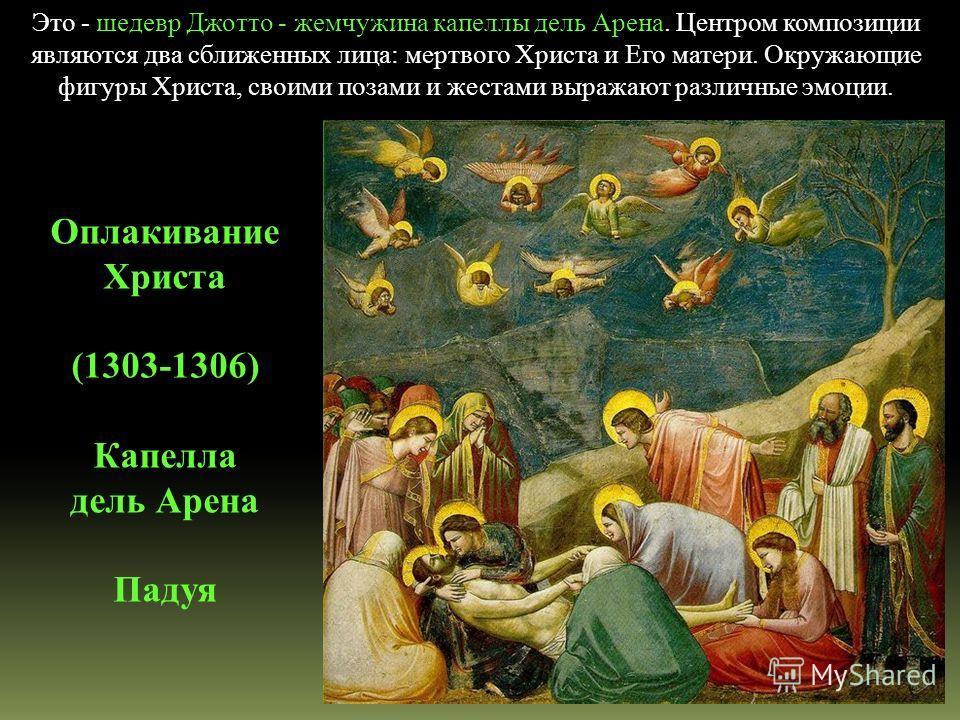 Это - шедевр Джотто - жемчужина капеллы дель Арена. Центром композиции являются два сближенных лица: мертвого Христа и Его матери. Окружающие фигуры Христа, своими позами и жестами выражают различные эмоции. Оплакивание Христа (1303-1306) Капелла дел