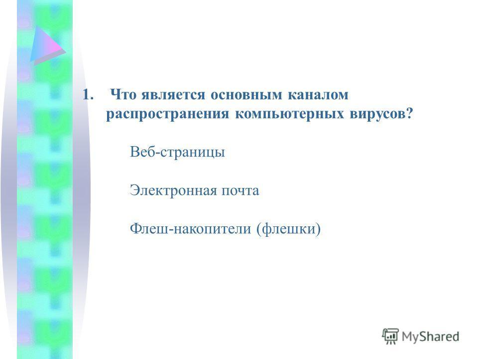 1. Что является основным каналом распространения компьютерных вирусов? Веб-страницы Электронная почта Флеш-накопители (флешки)