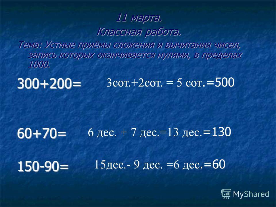 11 марта. Классная работа. Тема: Устные приёмы сложения и вычитания чисел, запись которых оканчивается нулями, в пределах 1000. 300+200=60+70=150-90= 3сот.+2сот. = 5 сот.=500 6 дес. + 7 дес.=13 дес. =130 15дес.- 9 дес. =6 дес.=60