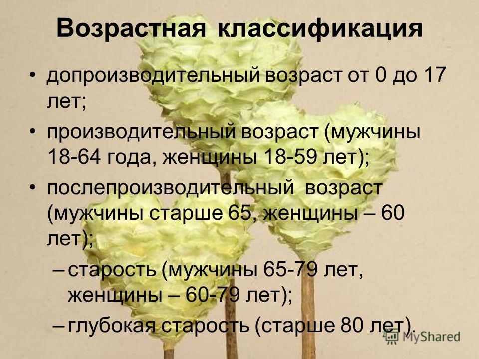 Возрастная классификация допроизводительный возраст от 0 до 17 лет; производительный возраст (мужчины 18-64 года, женщины 18-59 лет); послепроизводительный возраст (мужчины старше 65, женщины – 60 лет); –старость (мужчины 65-79 лет, женщины – 60-79 л