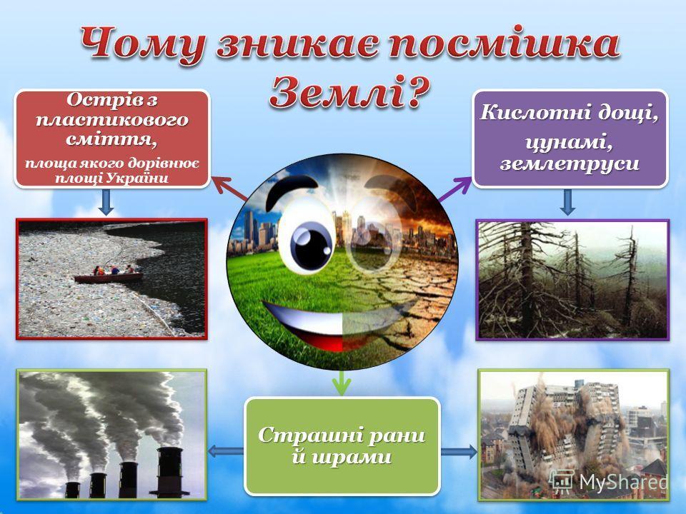 Острів з пластикового сміття, площа якого дорівнює площі України Страшні рани й шрами Кислотні дощі, цунамі, землетруси