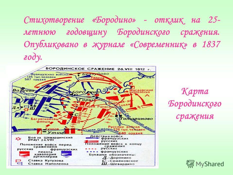 Стихотворение «Бородино» - отклик на 25- летнюю годовщину Бородинского сражения. Опубликовано в журнале «Современник» в 1837 году. Карта Бородинского сражения