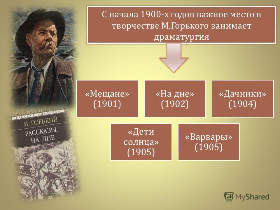 С начала 1900- х годов важное место в творчестве М. Горького занимает драматургия « Мещане » (1901) « На дне » (1902) « Дачники » (1904) « Дети солнца » (1905) « Варвары » (1905)