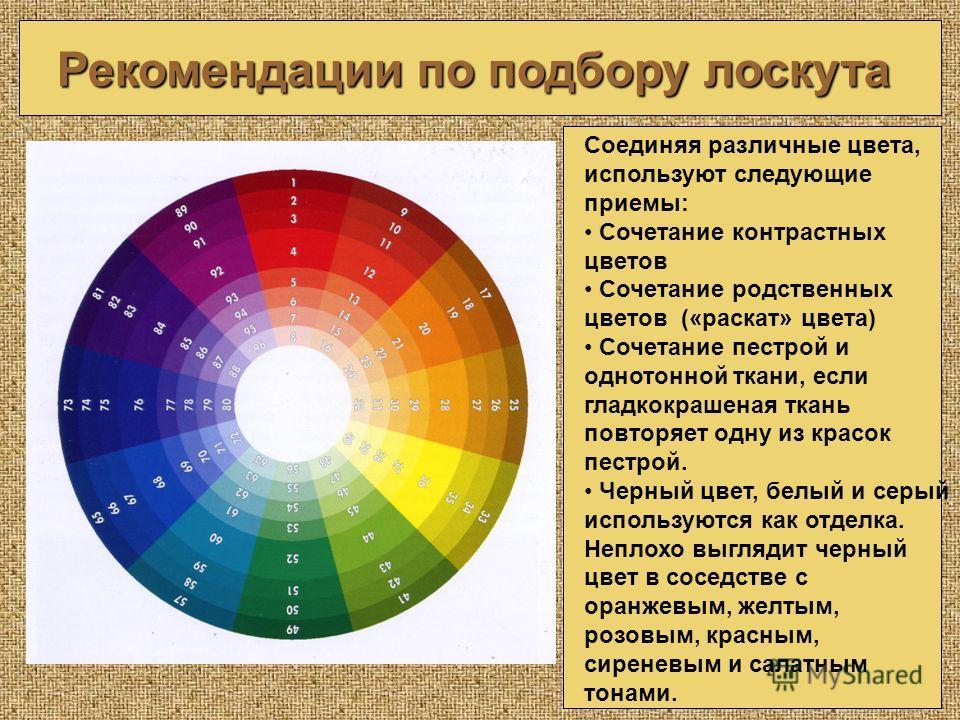 Рекомендации по подбору лоскута Соединяя различные цвета, используют следующие приемы: Сочетание контрастных цветов Сочетание родственных цветов («раскат» цвета) Сочетание пестрой и однотонной ткани, если гладкокрашеная ткань повторяет одну из красок