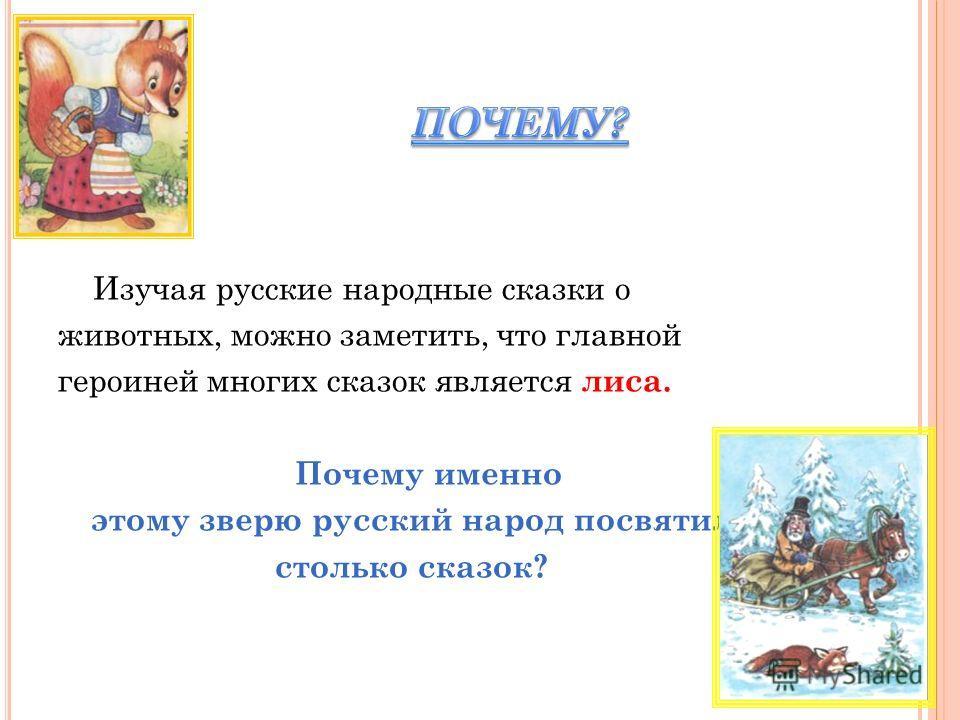 Изучая русские народные сказки о животных, можно заметить, что главной героиней многих сказок является л иса. П очему именно этому зверю русский народ посвятил столько сказок?