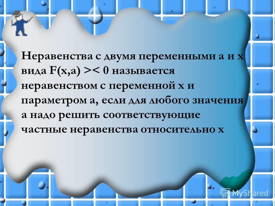 Неравенства с двумя переменными а и х вида F(x,a) >< 0 называется неравенством с переменной х и параметром а, если для любого значения а надо решить соответствующие частные неравенства относительно х