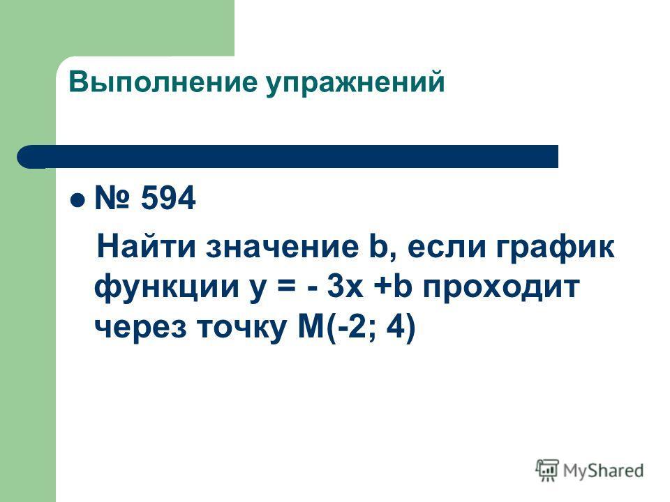 Выполнение упражнений 594 Найти значение b, если график функции у = - 3х +b проходит через точку М(-2; 4)