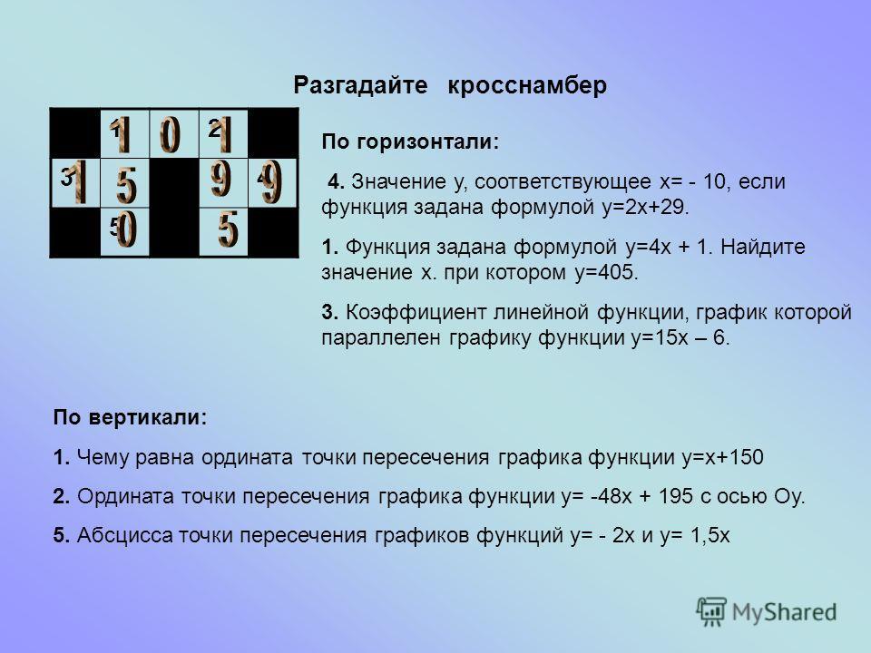Разгадайте кросснамбер 12 34 5 По горизонтали: 4. Значение у, соответствующее х= - 10, если функция задана формулой у=2х+29. 1. Функция задана формулой у=4х + 1. Найдите значение х. при котором у=405. 3. Коэффициент линейной функции, график которой п
